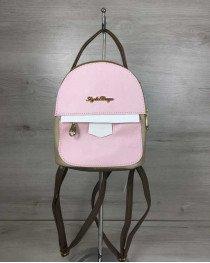 Женский рюкзак маленький кофейного цвета с розовым