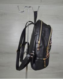 Молодежный рюкзак черный с клетчатой вставкой