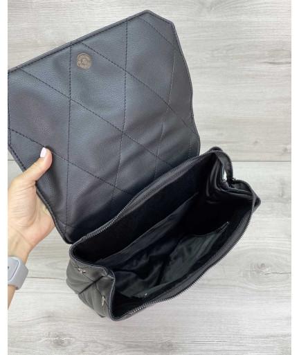 Стеганый сумка рюкзак черный