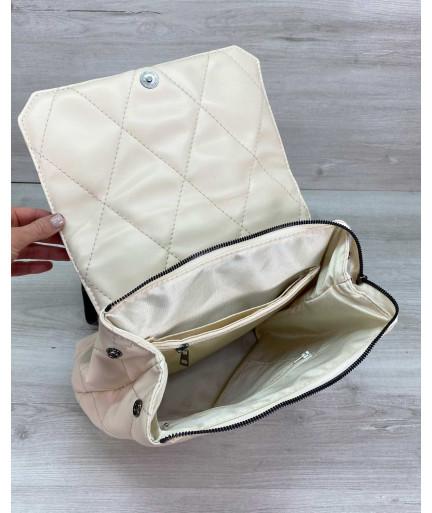 Стеганый сумка рюкзак бежевый