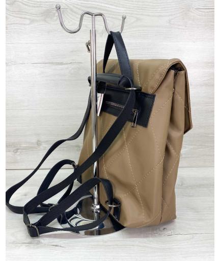 Сумка рюкзак нейлоновый кофейный