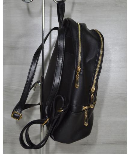 Молодежный рюкзак черного цвета c золотыми звездами