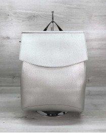 Женский  рюкзак сумка серебряного  цвета (никель)