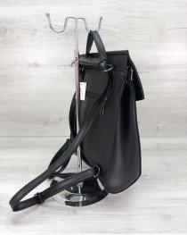 Молодежный сумка рюкзак черный гладкий