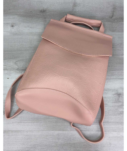 Молодежный сумка-рюкзак пудрового  цвета комбинированный