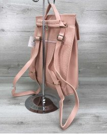 Сумка рюкзак пудрового  цвета комбинированный