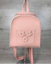 Женский рюкзак «Цветы» пудрового цвета