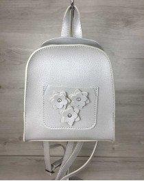 Женский рюкзак «Цветы» серый (серебро)