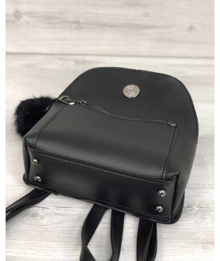 Молодежный рюкзак Бонни с пушком черного цвета