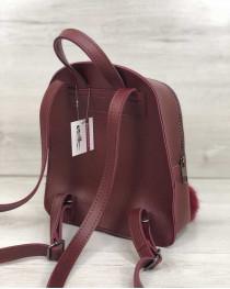 Молодежный рюкзак Бонни с пушком бордового цвета