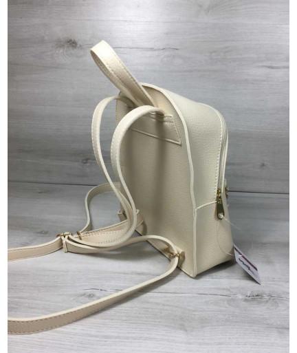 Молодежный рюкзак «Бонни» с паетками бежевого цвета