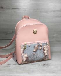 Рюкзак с пайетками «Бонни» пудрового цвета