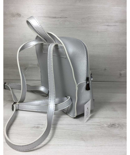 Рюкзак «Бонни» с паетками серебряного цвета