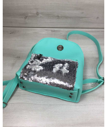 Молодежный рюкзак «Бонни» с паетками мятного цвета