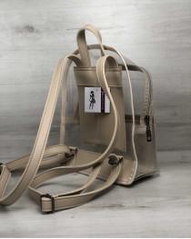 Молодежный рюкзак Бонни бежевый с силиконом (прозрачный)
