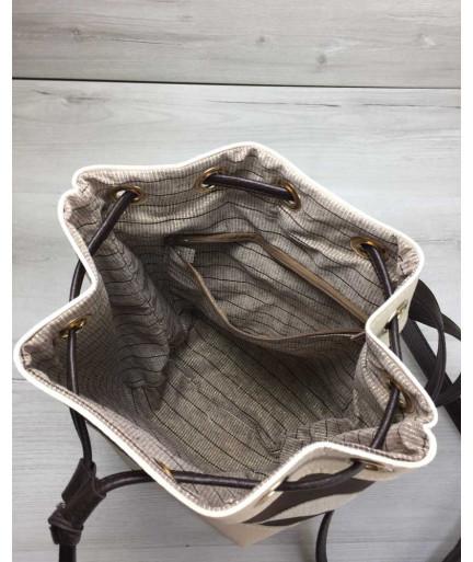 Молодежный сумка-рюкзак Резинка кофейного с бежевым цвета