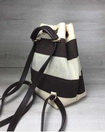 Женская сумка рюкзак «Резинка» кофейный с бежевым