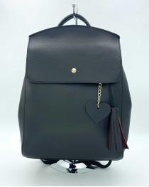 Молодежный сумка-рюкзак Сердце черного цвета