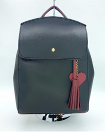 Молодежный сумка-рюкзак Сердце черного с красным цвета