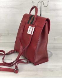 Рюкзак сумка женский Барб красного цвета (никель)