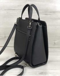 Женский каркасный сумка рюкзак вставкой черный крокодил