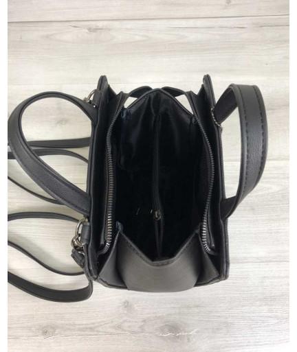 Рюкзак молодежный каркасный черного цвета со вставкой черный крокодил