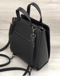Молодежный каркасный сумка-рюкзак черного цвета со вставкой блеск