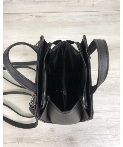 Рюкзак каркасный  черного цвета со вставкой блеск