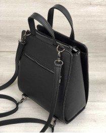 Рюкзак сумка каркасный  черный со вставкой блеск