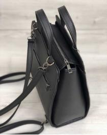 Молодежный каркасный сумка-рюкзак черного цвета со вставкой серый