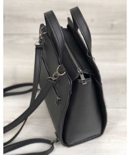 Рюкзак каркасный черного цвета со вставкой серого