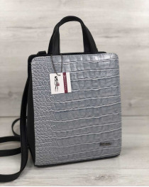 Молодежный каркасный сумка-рюкзак черного цвета со вставкой серый крокодил