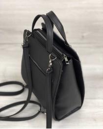 Каркасная сумка рюкзак черный со вставкой серый крокодил