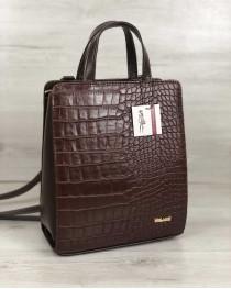Молодежный каркасный сумка-рюкзак коричневого цвета со вставкой коричневый крокодил