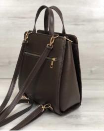 Каркасный женский сумка рюкзак коричневый со вставкой крокодил