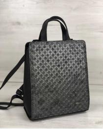 Молодежный каркасный сумка-рюкзак черного цвета со вставкой серебро