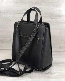 Каркасная женская сумка рюкзак черный со вставкой серебро