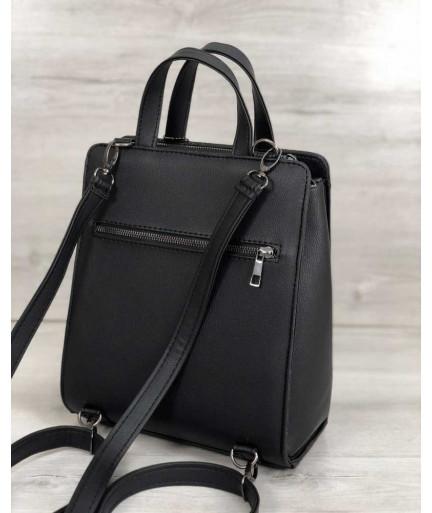 Каркасная женская сумка рюкзак черного цвета