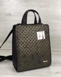 Рюкзак сумка женская черного цвета со вставкой золото