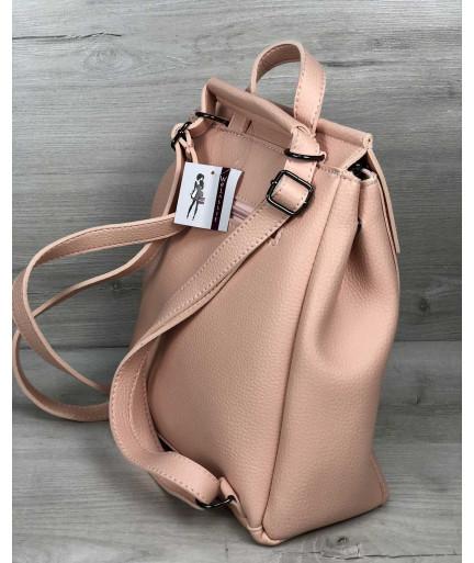 Женский сумка рюкзак «Фаби» пудрового цвета