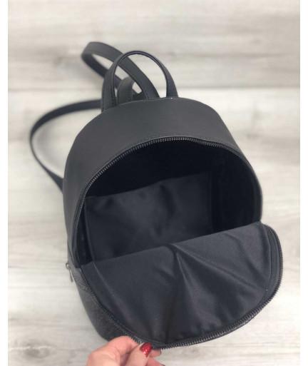 Стильный молодежный рюкзак Рина черный блеск