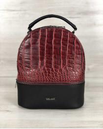 Стильный молодежный рюкзак Рина красный крокодил