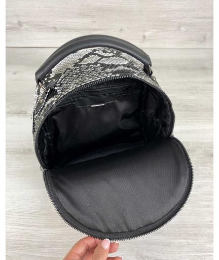 """Стильный рюкзак """"Рина"""" черно-белая рептилия"""