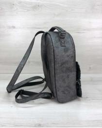 Рюкзак молодежный  Рина серого цвета с мехом