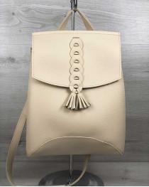 Молодежный сумка-рюкзак с косичкой бежевого  цвета