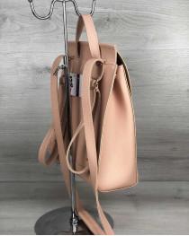 Молодежный сумка-рюкзак с косичкой пудрового  цвета