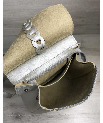 Рюкзак сумка с косичкой серебряного цвета