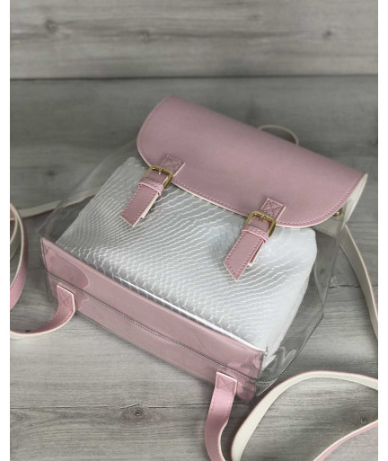 Молодежный силиконовый  рюкзак розового цвета с косметичкой белая рептилия