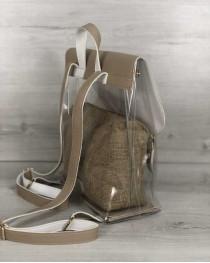 Молодежный силиконовый  рюкзак кофейного цвета