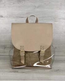 Женский силиконовый рюкзак кофейного цвета с косметичкой